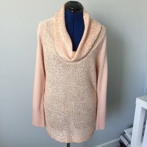 Womens Peach Long Cowl Neck Sequence Sweater Large